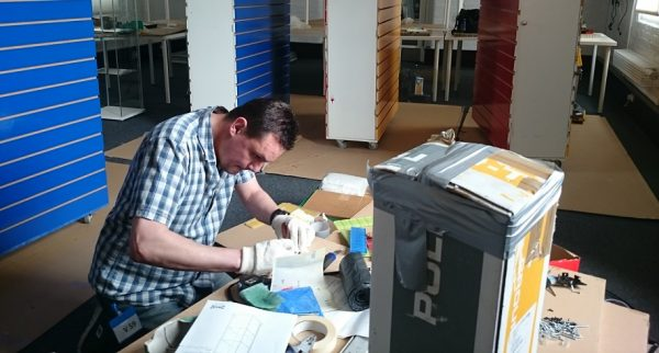 Steve working on the exhibition at Portsmouth City Museum.
