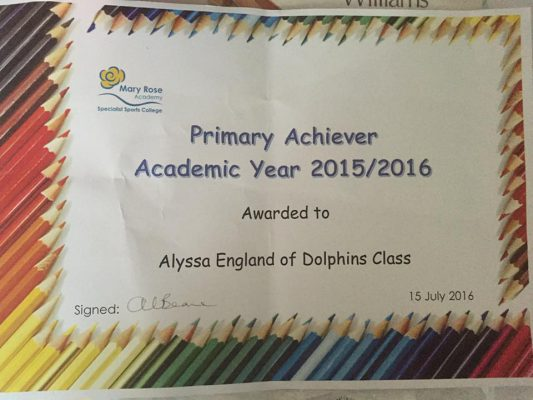 Alyssa's certificate for winning Primary Achiever at Mary Rose Academy.